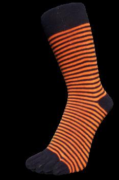 Zehensocken, Ringel schmal, schwarz-orange