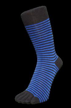 Zehensocken, Ringel schmal, schwarz-royalblau