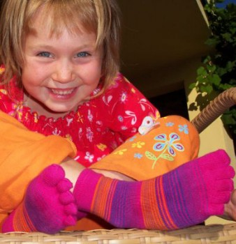 Kinder-Zehensocken, Pinkelig-Ringelig, pink-orange-lila