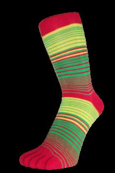 Zehensocken, Dreifarbringel, Ropop, Rot-Grün-Gelb