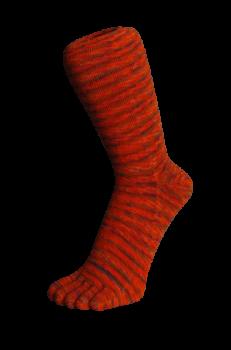 Zehensocken, Batikeffekt. Orange-Batik