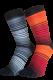 Zehensocken, Dreifarbringel, Schwarz-Orange-Rot