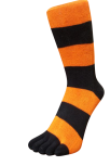 Zehensocken, Blockringel, Schwarz-Orange