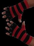 Kurzfinger-Handschuhe, Ringel schwarz-feuerrot S