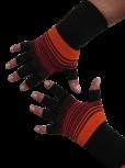 Kurzfinger-Handschuhe, Ringel schwarz-rot-orange XS