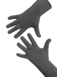 Handschuhe, Langfinger, unifarben, Hellgrau M