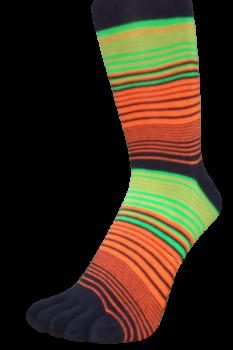 Zehensocken, Dreifarbringel, Schworapop, Schwarz-Rot-Grün, 35 - 41