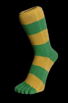 Zehensocken, Blockringel, Apfelgrün-Gelb