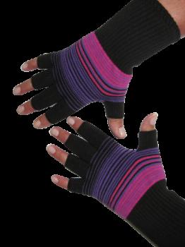 Kurzfinger-Handschuhe, Ringel schwarz-pink-lila L