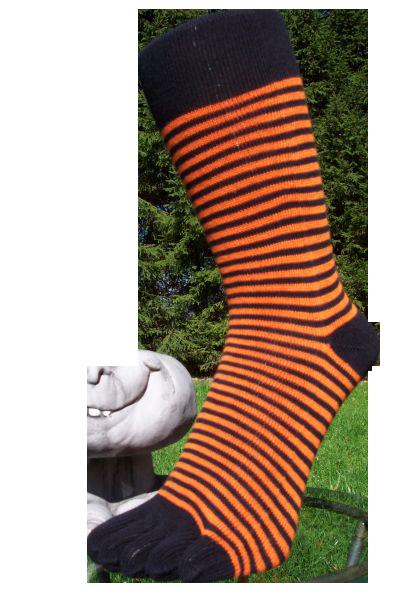 zehensocken schmal schwarz orange gr sse 35 41 14 1. Black Bedroom Furniture Sets. Home Design Ideas