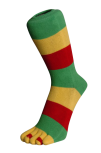 Die Rastas, Grün-Gelb-Rot mit Zehenringel