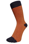 Zehensocken, schmal, schwarz, Orange, Grösse 42 - 48
