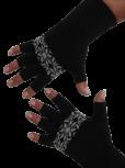 "Kurzfinger-Handschuhe, Motiv ""Norweger"", Fb. schwarz-grau"