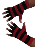 Kurzfinger-Handschuhe, Ringel schwarz-feuerrot