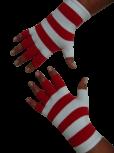Kurzfinger-Handschuhe, Ringel feuerrot-weiss
