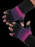 Kurzfinger-Handschuhe, Ringel schwarz-pink-lila