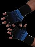 Kurzfinger-Handschuhe, Ringel schwarz-blau-hellblau
