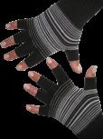 Kurzfinger-Handschuhe, Ringel schwarz-grau-anthrazit