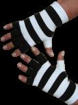 Kurzfinger-Handschuhe, Ringel schwarz-weiss