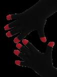 Handschuhe, Langfinger, schwarz mit roten Kuppen, Grösse M