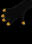 Handschuhe, Langfinger, schwarz, maisgelbe Kuppen, Grösse M