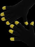 Handschuhe, Langfinger, schwarz, sonnengelbe Kuppen, Grösse M