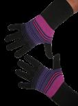 Handschuhe, Langfinger, schwarz-pink-lila, Grösse M
