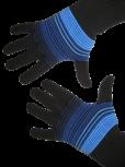 Handschuhe, Langfinger, schwarz-blau-hellblau, Grösse M