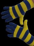 Handschuhe, Langfinger, Ringel, Farbe blau-gelb, Grösse M