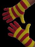Handschuhe, Langfinger, Ringel, rot-gelb, Grösse M