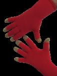 Handschuhe, Langfinger, feuerrot mit Goldkuppen, Grösse M